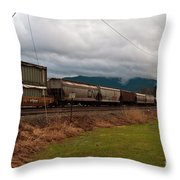 Freight Rain Throw Pillow