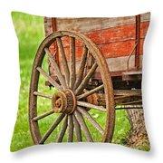 Freight Wagon Wheel Throw Pillow