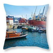 Freighter And Shipping Containers In Port Of Valpaparaiso-chile Throw Pillow