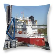 Freighter In Lock Of Saint Lawrence Throw Pillow