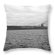 Freighter In Midland Bay Throw Pillow