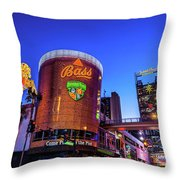 Fremont Street Entrance From The East At Dusk Throw Pillow
