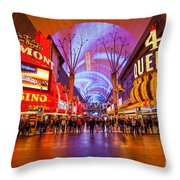 Fremont Street Experience At Night In Las Vegas Throw Pillow by Bryan Mullennix