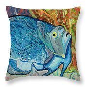 French Angle Fish Throw Pillow