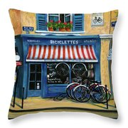 French Bicycle Shop Throw Pillow