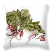 French Breakfast Radishes Throw Pillow