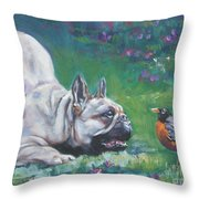 French Bulldog Meets Robin Redbreast Throw Pillow