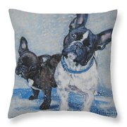 French Bulldog Mom And Pup Throw Pillow