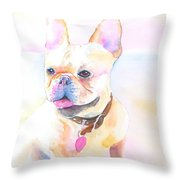 French Bulldog Watercolor Throw Pillow