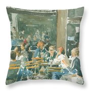 French Cafe Scene  Throw Pillow