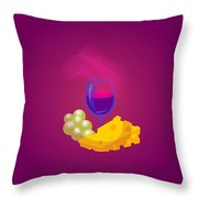 French Cheese And Glass Of Wine Throw Pillow