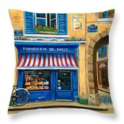 French Cheese Shop Throw Pillow by Marilyn Dunlap