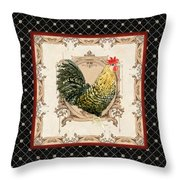 French Country Roosters Quartet Black 3 Throw Pillow