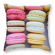French Delicious Dessert Macaroons Throw Pillow