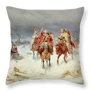 French Forces Crossing The River Berezina In November 1812 Throw Pillow