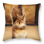 French Fry Eating Squirrel2 Throw Pillow