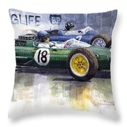 French Gp 1963 Start Lotus Vs Brm Throw Pillow