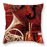 French Horn Christmas Still Life Throw Pillow