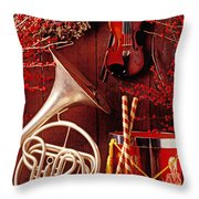 French Horn Christmas Still Life Throw Pillow by Garry Gay