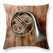 French Horn Hanging On Wall Throw Pillow