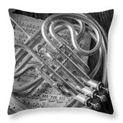 French Horn In Black And White Throw Pillow