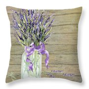 French Lavender Rustic Country Mason Jar Bouquet On Wooden Fence Throw Pillow