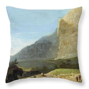 French Master 1st Half Of Th 19th Century   Rocky Cliff Off Shore Throw Pillow