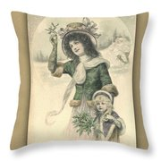 French Mother And Child Christmas Card Throw Pillow