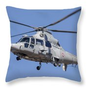 French Navy As565 Panther Helicopter Throw Pillow