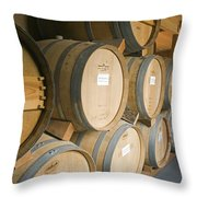 French Oak Barrels Of Wine At Midnight Throw Pillow