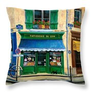 French Pastry Shop Throw Pillow by Marilyn Dunlap
