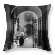 French Quarter Courtyard Throw Pillow