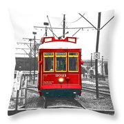 French Quarter French Market Cable Car New Orleans Color Splash Black And White With Film Grain Throw Pillow