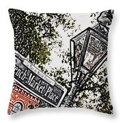 French Quarter French Market Street Sign New Orleans Colored Pencil Digital Art Throw Pillow