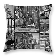 French Quarter Musicians Collage Bw Throw Pillow