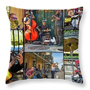 French Quarter Musicians Collage Throw Pillow
