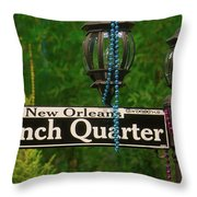 French Quarter Sign Throw Pillow
