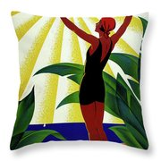 French Riviera, Girl On The Beach, France Throw Pillow