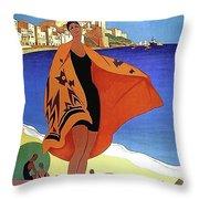 French Riviera, Woman On The Beach, Paris, Lyon, Mediterranean Railway Throw Pillow