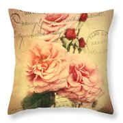 French Rose Bouquet Throw Pillow