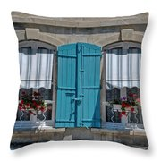 Shuttered Windows And Flowers Throw Pillow