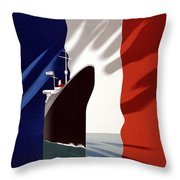 French Shipping Line Poster Throw Pillow