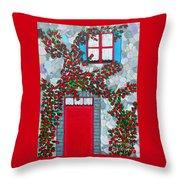French Stone House And Rose Trellis Throw Pillow