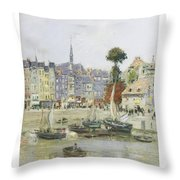 French View Of Honfleur Throw Pillow