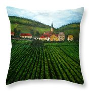French Village In The Vineyards Throw Pillow