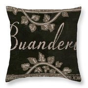 French Vintage Laundry Sign Throw Pillow