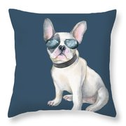 Frenchie French Bulldog Aviators Dogs In Clothes Throw Pillow