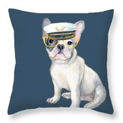 Frenchie French Bulldog Yellow Glasses Captains Hat Dogs In Clothes Throw Pillow