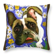 Frenchie Plays With Frogs Throw Pillow