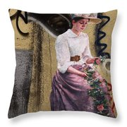 Frescoe Painting Of A Woman In Traditional Dress With Flowers Am Throw Pillow
